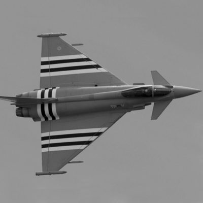 Typhoon jet with invasion stripes, side on in black and white