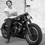 Custom Motorcycle black and white photograph with rider