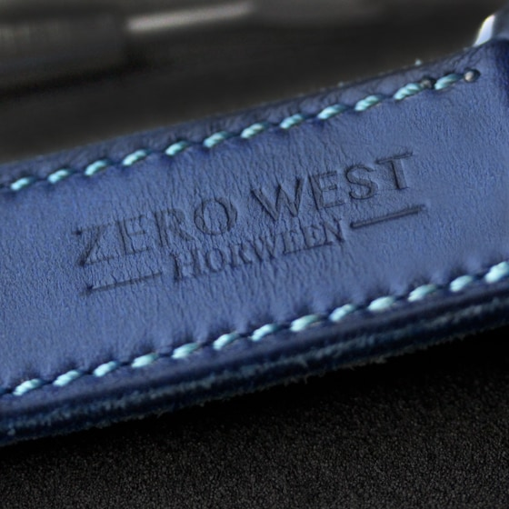 L1 blue horween strap back with embossed Zero West logo