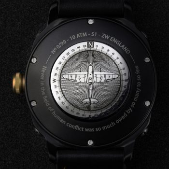 Engraved spitfire watch back Zero West
