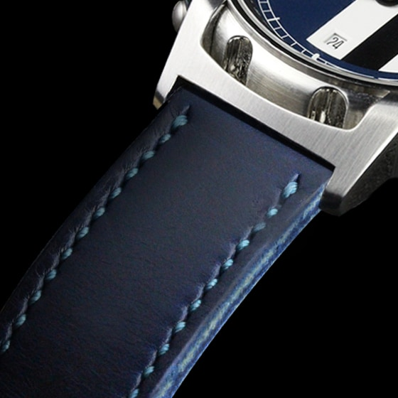 Ink blue Horween leather watch strap