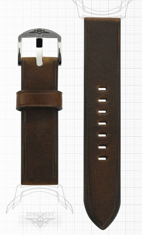 Plain parallel creased Horween Brown Chromexcel Zero West Watches