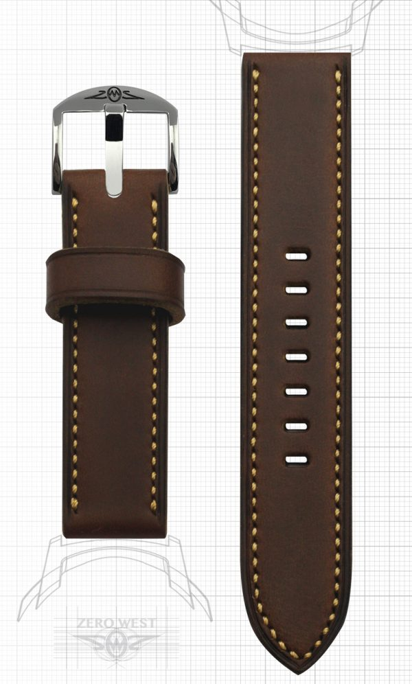 Fully stitched Horween Brown Chromexcel Zero West Watches