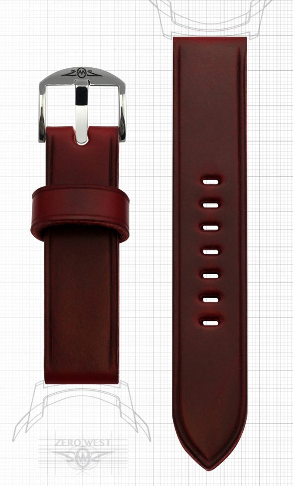 Plain parallel creased Horween Chromexcel Cavalier in Lollipop Red Zero West Watches