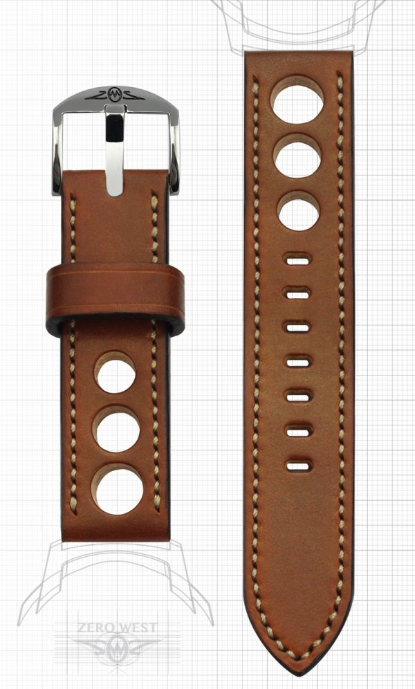 Fully stitched Full Grain hand dyed English Tan Leather with natural through rally holes Zero West Watches
