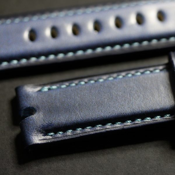 Fully Stitched Padded Horween Cavalier Chromexcel - Ink Blue Zero West Watches