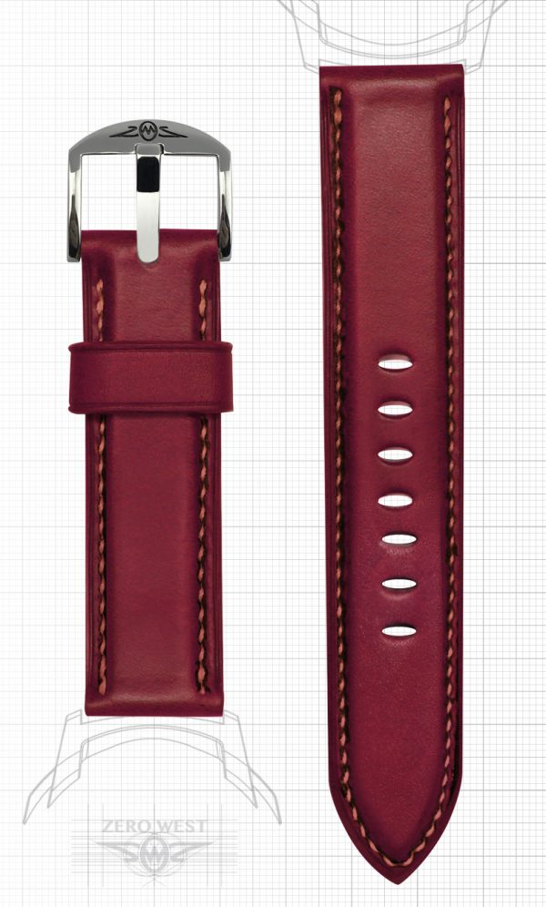 Fully Stitched Padded Horween Chromexcel Cavalier - lollipop red Zero West Watches