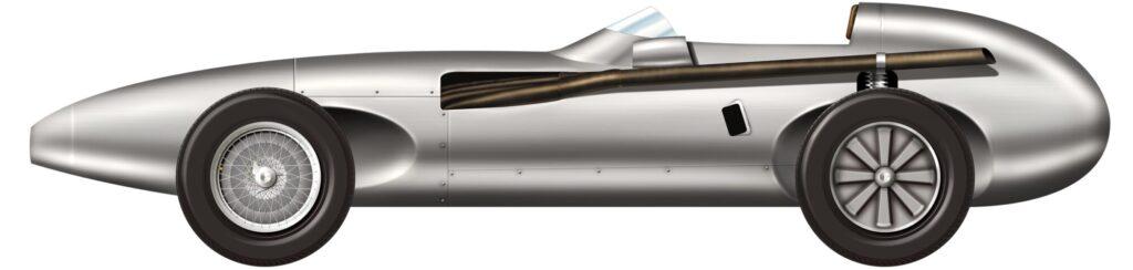 Vanwall sports car illustration, side profile