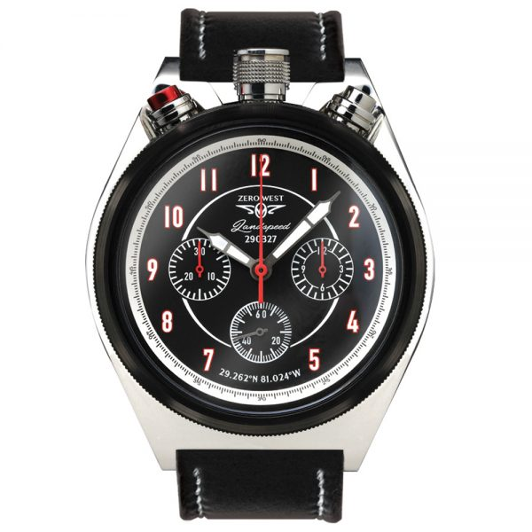 LS-1 Land speed bullhead chronograph, black and silver with leather strap