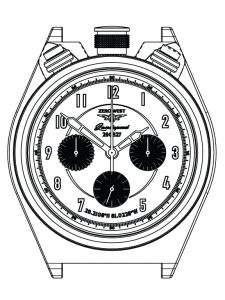 Technical LS-1 watch drawing from Zero West