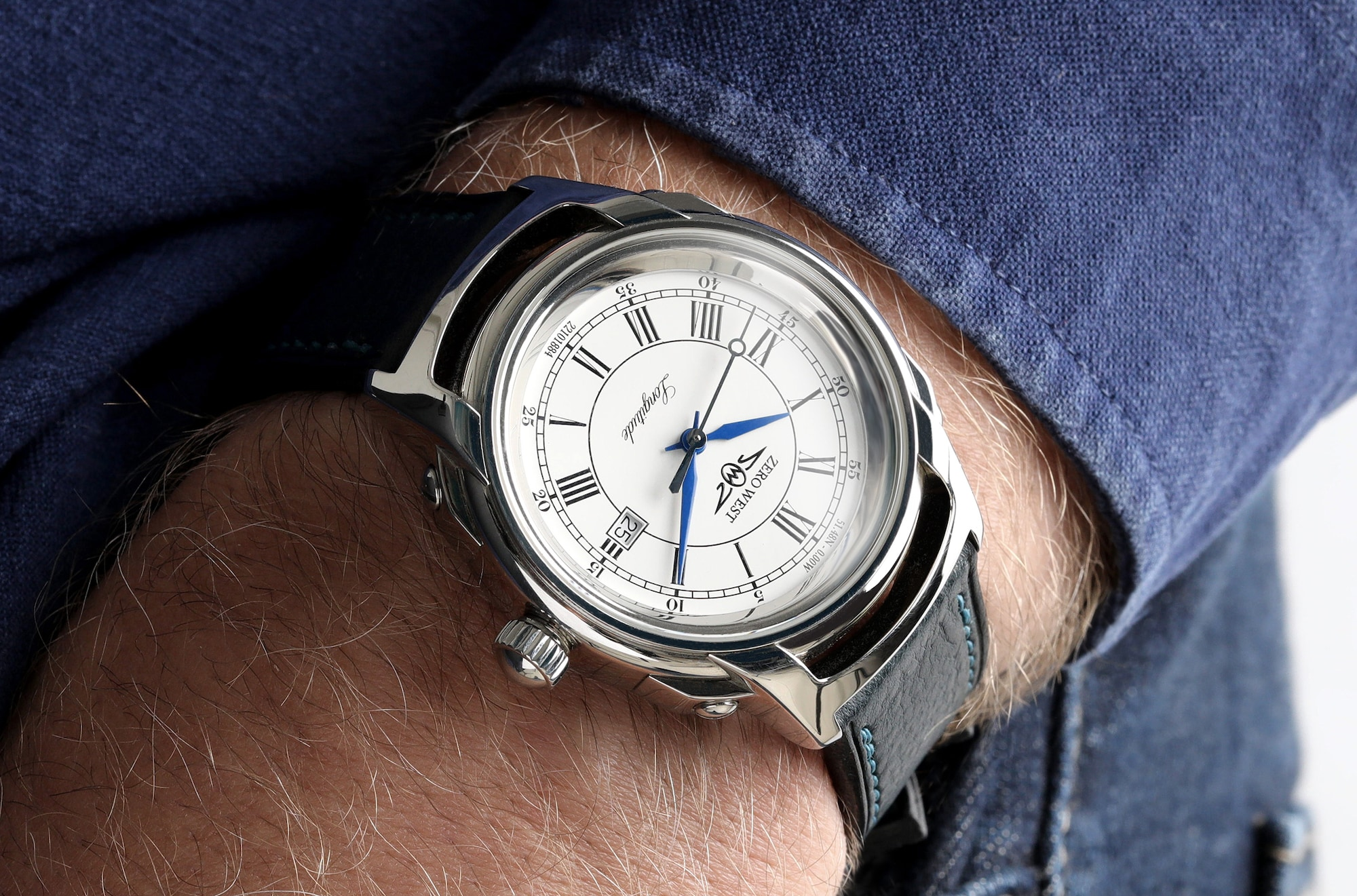 L1 Longitude watch with blue jeans and shirt