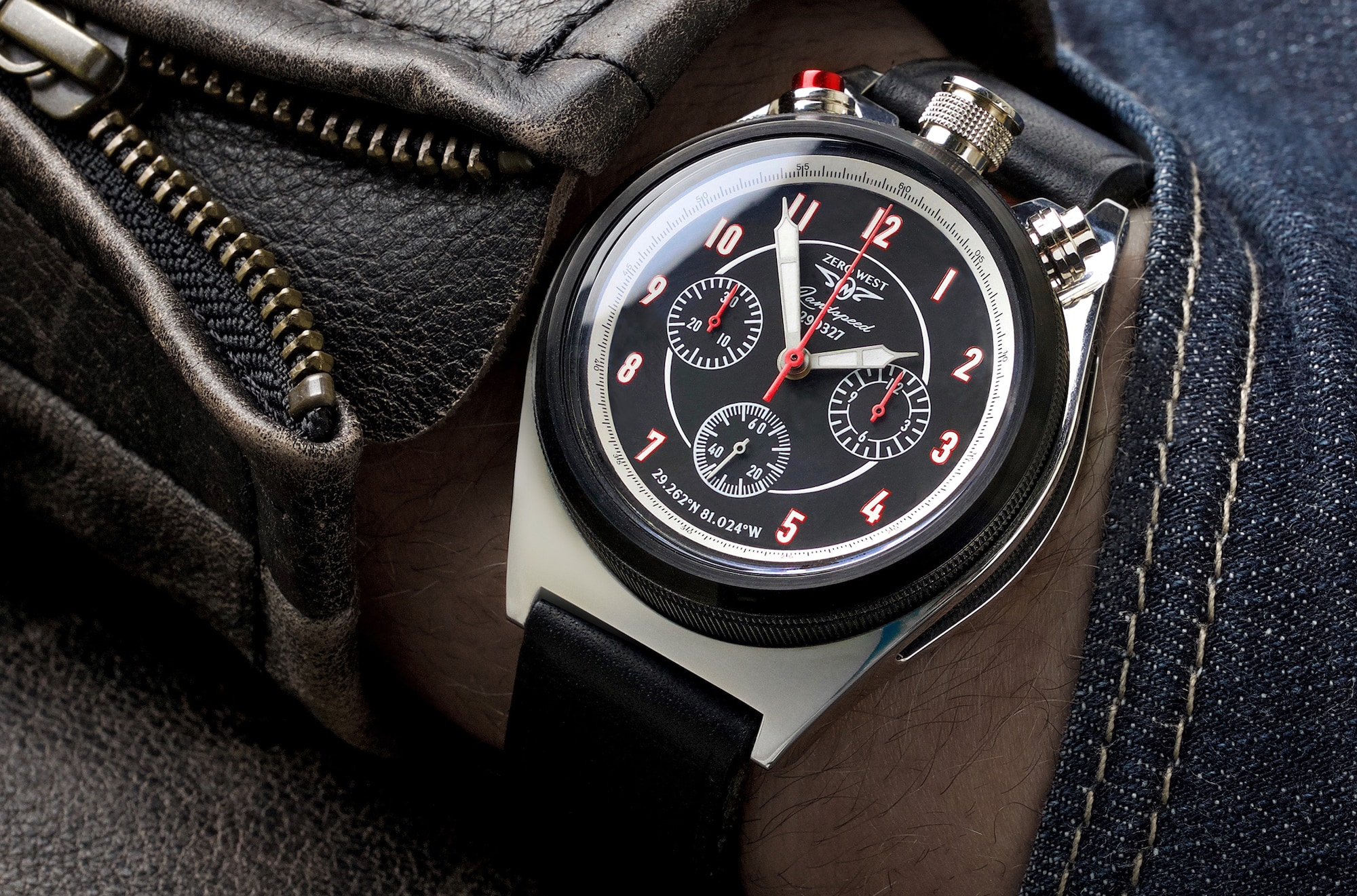 LS1 land speed bullhead chronograph on the wrist with leather jacket