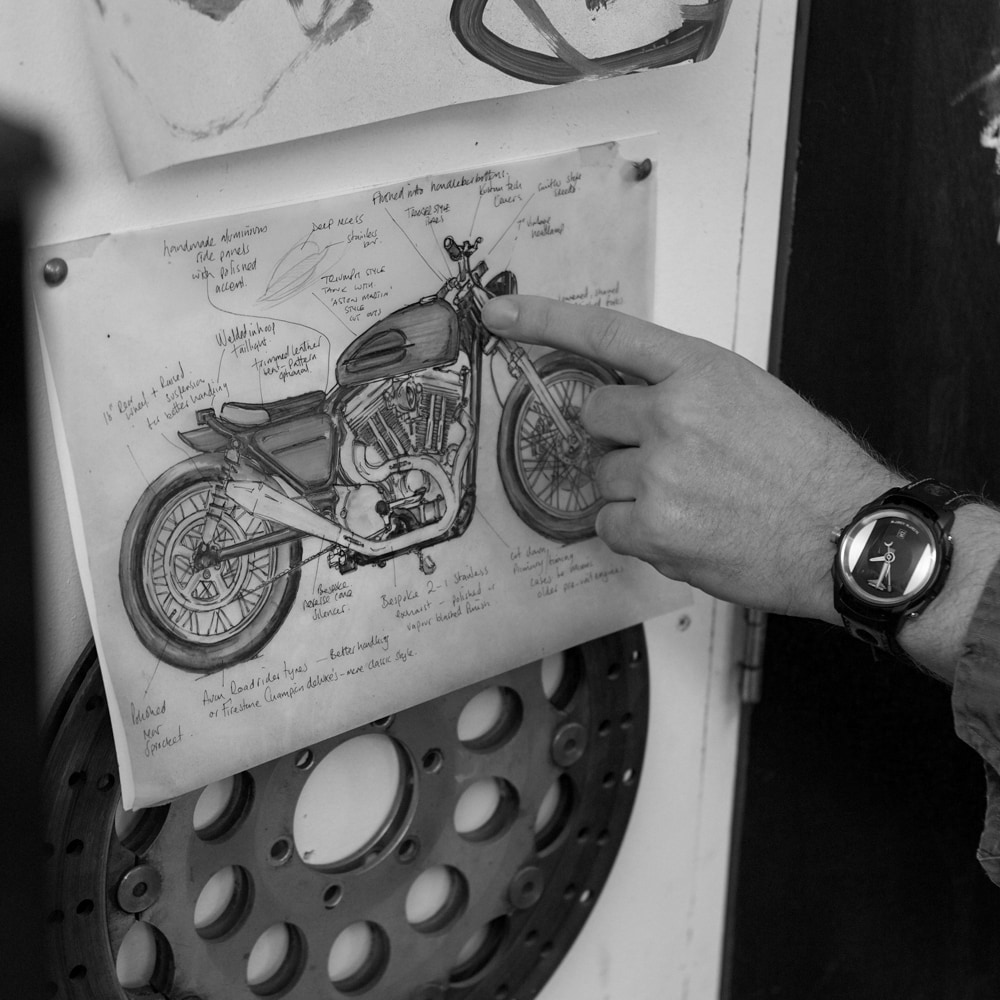 Illustration on the a of a cafe racer motorcycle, Zero West