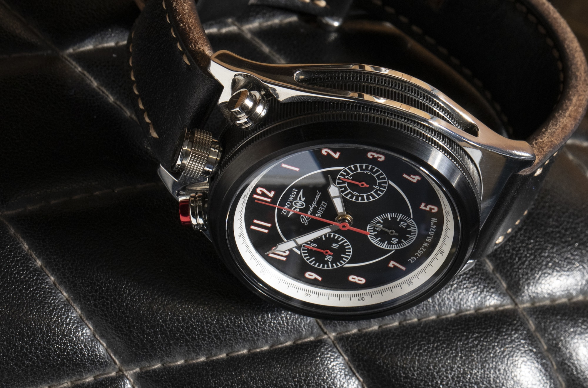 LS-1 Land speed Chronograph from Zero West on leather seat